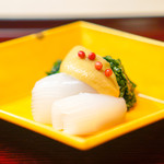 祇園 末友 - お造り 紋甲烏賊 酢味噌 菜花