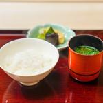 祇園 末友 - 京都美山のコシヒカリ、 赤出汁、さつま芋 香の物