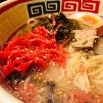 九州じゃんがららあめん - 辛子高菜&紅生姜をのせて!