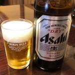 そば庄 - 瓶ビール中瓶アサヒ600円