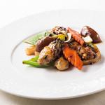 牡蠣と野菜のトーチ炒め