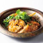 生牡蠣と京野菜の腐乳チーズソース炒め