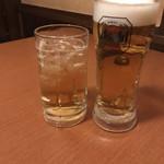 地鶏と個室居酒屋 よし河 - 生ビールとハイボーラーのハイボール(爆)←懐かしい表現でしょwww