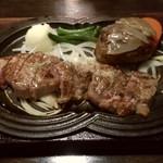 牛庵 - 神戸牛ハンバーグとサービスステーキコンボ(1450円)