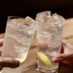 餃子とスパークリング バブルス - 最後はレモンサワーで乾杯♪