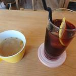 Green Cafe&Bar - セットのスープとドリンク
