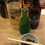 酒場 ふくろ - お通し¥250、焼酎瓶詰(180ml)¥250、ホッピー(焼酎別)¥220