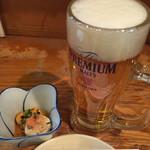 宝山 いわし料理 大松 - お得セットの生ビールとお通し