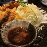 10513706 - ランチ「ひれかつ3枚と野菜天ぷら3種」