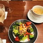 105130747 - サラダ、本日のスープ、スパークリニングワイン