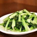 錦福 香港美食 - 季節野菜とニンニクの炒め物@1,200円:塌菜(ターサイ)で。
