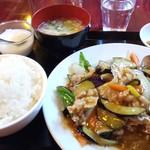 食香閣 - ランチ【ナスと豚肉炒め¥600(税込)】