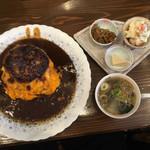 洋食 ふきのとう - トロトロオムライスハンバーグ 全貌
