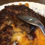洋食 ふきのとう - トロトロオムライスハンバーグ 肉汁チェック