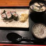 串焼 錦江 - ネギトロ巻き(鶏スープつき)は目の前でねぎとったマグロ使用