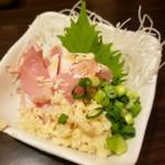 積丹浜料理 第八 太洋丸 - 地鶏のたたき 山わさび