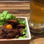 そば・ほうとう・郷土料理 信玄 - ちょい飲みセット(生ビール&甲州名物鳥もつ煮)
