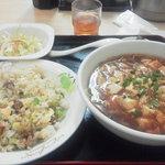 中国料理天然居 - チャーシュー炒飯と半麻婆麺セット(880円)