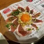 鴨と豚 とんぺら屋 - 「二代目 鴨のねぎ塩ユッケ (650円)」