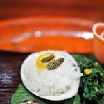 草喰 なかひがし - 八寸中の蛤飯蒸し