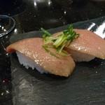 ryuukyuukaitensushimirai - 石垣牛特選霜降り ミスジの炙り 2貫(19-04)