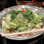おおはしてい - こちらのもつ鍋は醤油味のみです。1人前税込1,047円。2人で3人前注文しました。