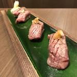 105304768 - A4山形牛の肉寿司。                       美味し。