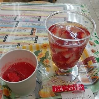杉山フルーツ店 - 料理写真:いちごゼリー&生いちごジュース