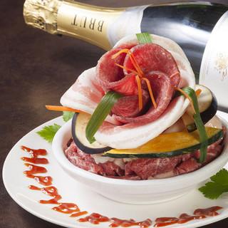 【肉ケーキでサプライズ】新宿でのとっておきのお祝いに♪