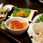 Mainichihokkaidoubussantenneorobatadounannourinsuisambu - 北海道の海の幸お刺身盛り合わせ ホタテ、ウニ、サーモン、イクラ、牡蠣も❤️