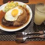 おとなのヒッコリー - 料理写真:ジャーマンハンバーグ丼(十六穀米大盛り)♪グレープフルーツジュース♪