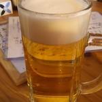 もみじ - 生ビール(…の後ろにある下側のがお魚メニュー(注意されたヤツ(^^;))