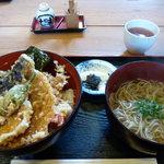 丸福 - 天丼+小蕎麦セット¥1030