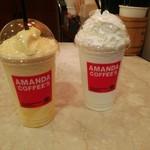 アマンダコーヒーズ - マンゴーミルクシェキラートGrandeサイズ、バニラシェキラートGrandeサイズ