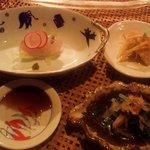 風乃音 - お造り(平鱸) 白身魚のいんぴん漬け 菊菜の御浸し