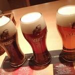 """105438672 - """"マリアージュセット""""のビール3種;エビススタウト(クリーミートップ)・エビス&エビス(ハーフ&ハーフ)・琥珀エビス @2019/04/04"""