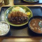 かつ勢本店 - 料理写真:味噌かつ膳ロースカツ(中) 豚汁に変更 1541円