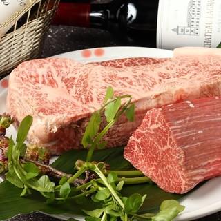 神戸牛のサーロインまたはヒレをご用意してお待ちしております。
