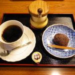 ふうみん庵 - コーヒーとおはぎのセット