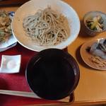 篠山花格子 - 小えびのかき揚げとあつもり蕎麦と蕎麦膳(鯖棒寿司)♪