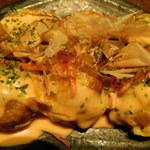 お好み焼き食べ放題 大地の宴 - 明太マヨネーズをかけました