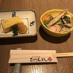 Shirakawa - 最初にサラダと鰻巻きが登場〜