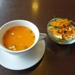 インド・アジア料理 ポカラ - 料理写真:スープとサラダ_2019-04-10