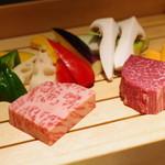 神楽坂 鉄板焼 向日葵 - 黒毛和牛サーロイン、フィレ