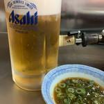 楽洛亭 - 生ビール、タレ