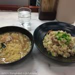 大村庵 - 料理写真:角切りチャーシュー入りガーリックチャーハン半ラーメン付(850円税込)