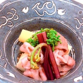 京都筍と和牛花山椒煮付き、卯月のコース10000円
