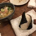 日吉 金魚 - 明太子茶漬け、葉唐辛子のおにぎり