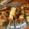 鳥久 - 料理写真:焼きとり (左から)手羽先、ササミ、砂肝、皮?、若どり