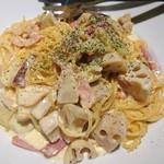 三ツ星屋台 - ベーコンと根野菜のクリームパスタ